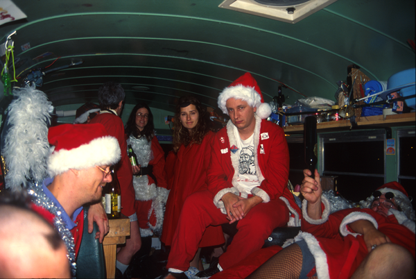 Santas in NYC Santa Squid Scott Beale on-the Cyberbuss image by Harrod Blank