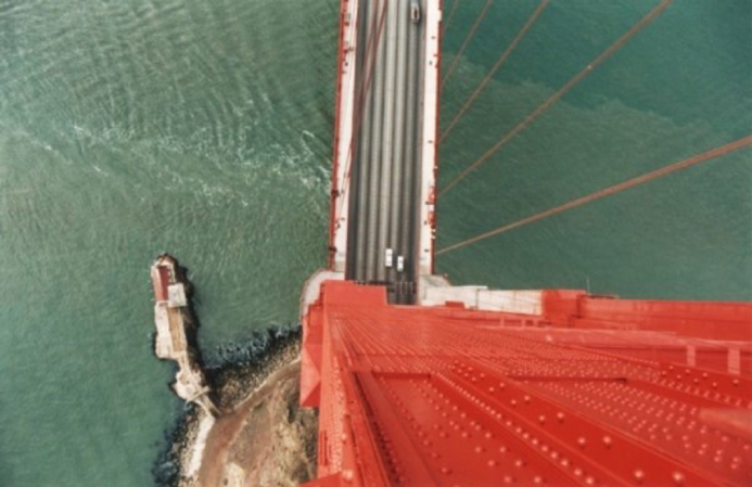 "Golden Gate Bridge vertical no hands, 1986 Color photo 18"" x 12"""